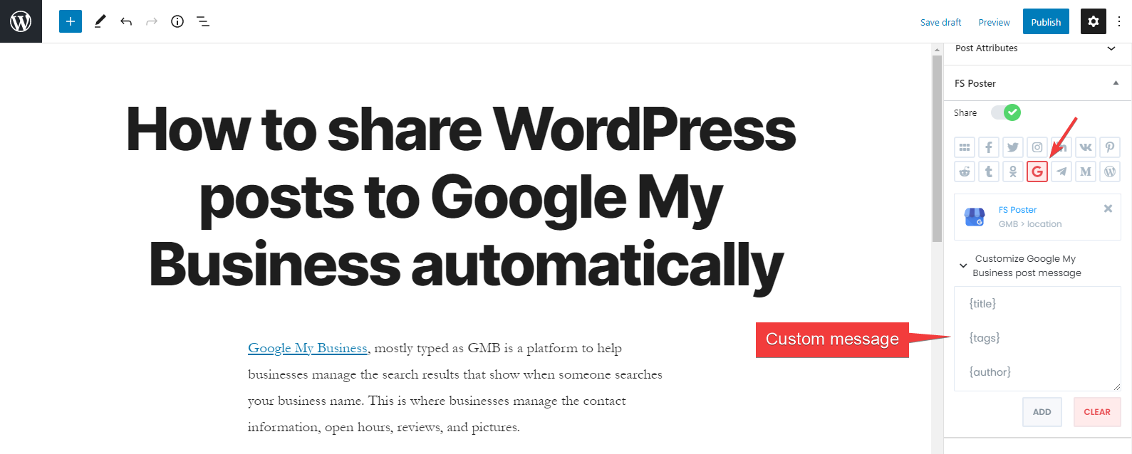 How to share WordPress posts to Google My Business automatically