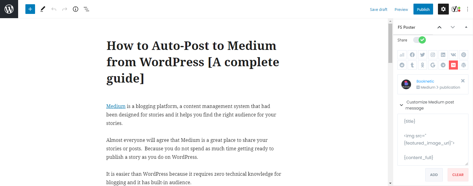 How to send a WordPress post to Medium as a story automatically