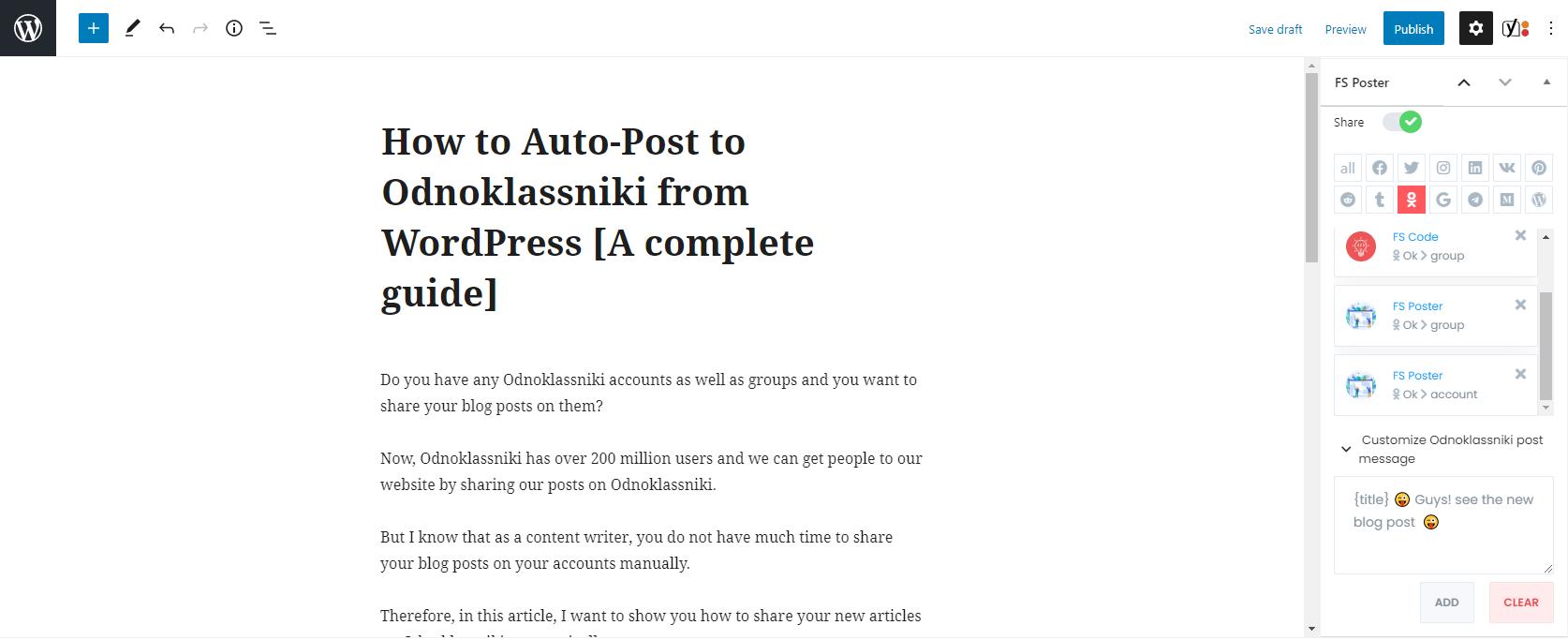 How to Auto-Post to Odnoklassniki from WordPress