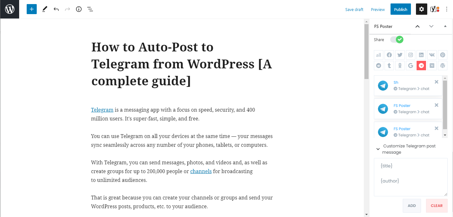 How To Auto-Post To Telegram From WordPress