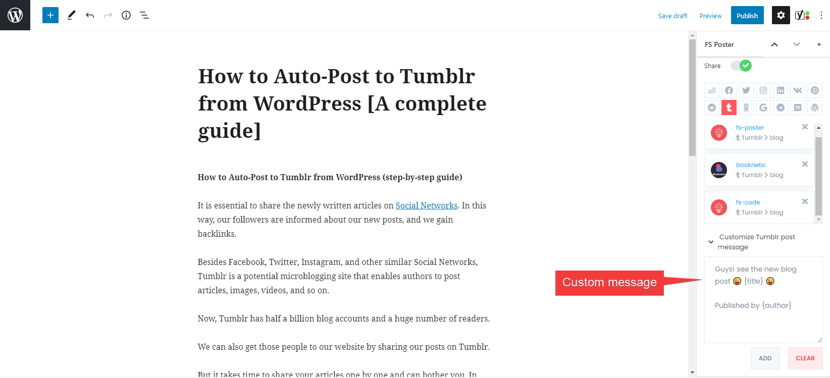 How to Automatically Post to Tumblr from WordPress Using FS Poster