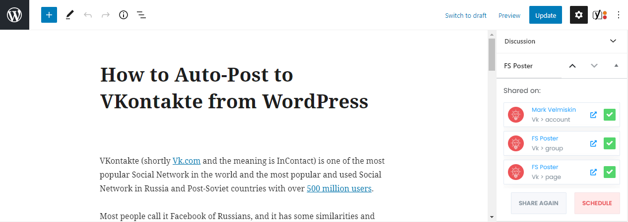 How to Automatically Post to VKontakte from WordPress Using FS Poster