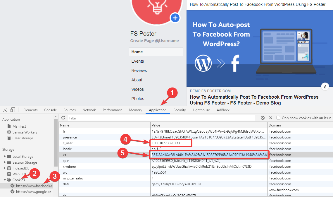 Facebook - Cookie Method - FS Poster WordPress Plugin