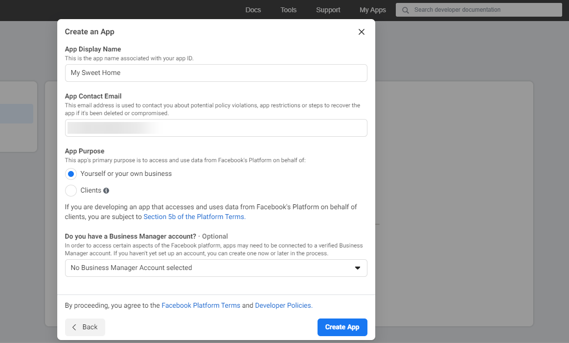 Add a Facebook account using the Personal App method